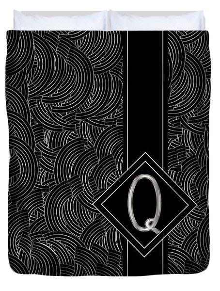 Deco Jazz Swing Monogram ...letter Q Duvet Cover