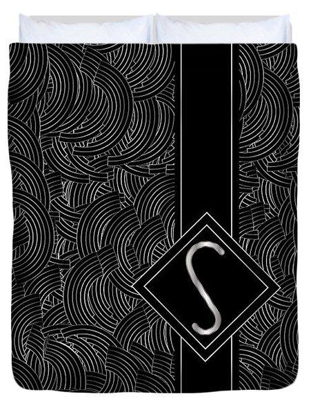 Deco Jazz Swing Monogram ...letter S Duvet Cover