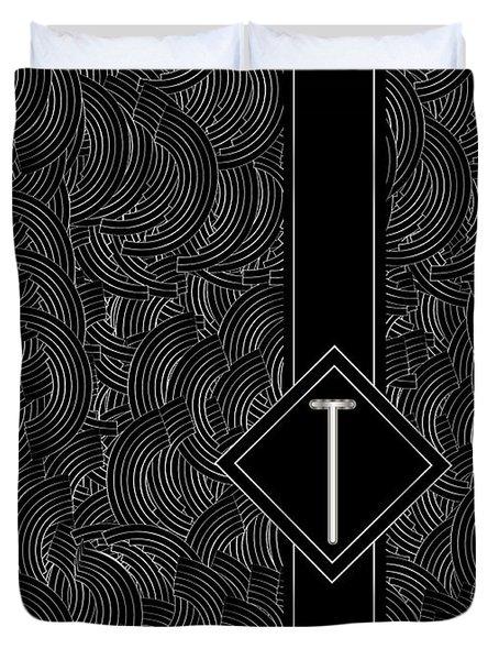 Deco Jazz Swing Monogram ...letter T Duvet Cover