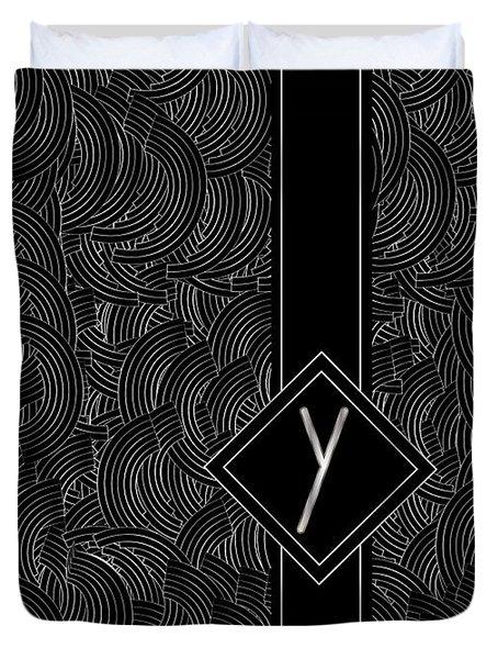 Deco Jazz Swing Monogram ...letter Y Duvet Cover