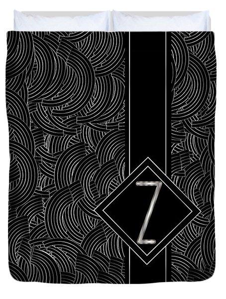Deco Jazz Swing Monogram ...letter Z Duvet Cover