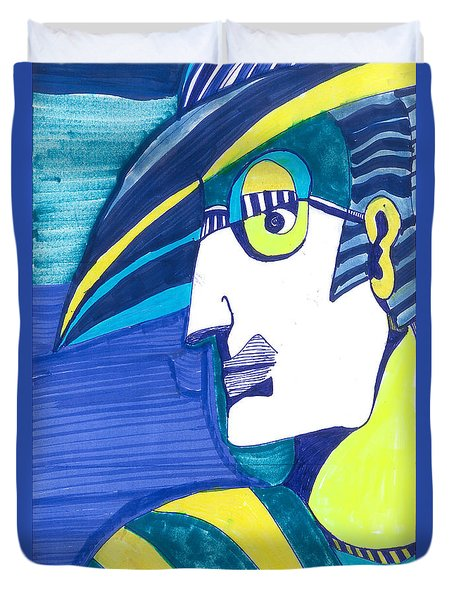 Duvet Cover featuring the painting Decoman   by Don Koester