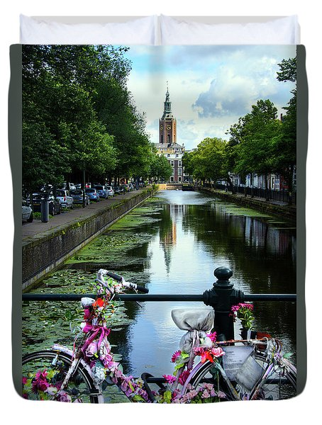 Duvet Cover featuring the photograph Canal And Decorated Bike In The Hague by RicardMN Photography