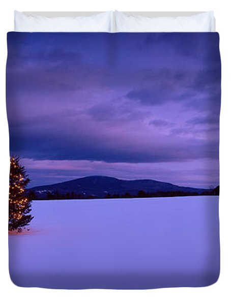 Decorated Christmas Tree In A Snow Duvet Cover