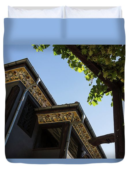 Decorated Eaves And Grapes Trellis - Old Town Plovdiv Bulgaria Duvet Cover by Georgia Mizuleva