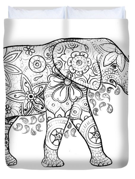 Decorated Elephant In Black And White Duvet Cover