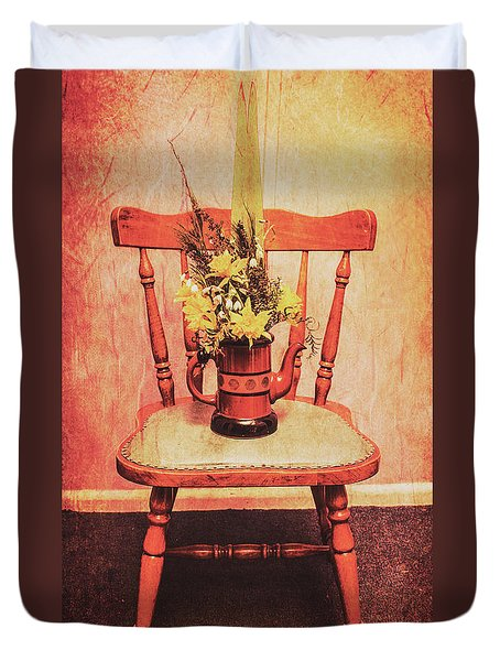 Decorated Flower Bunch On Old Wooden Chair Duvet Cover