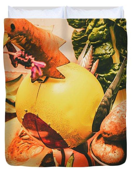 Decorated Organic Vegetables Duvet Cover