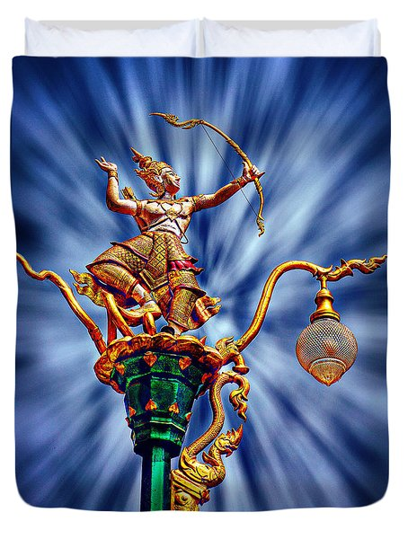 Decorative City Lamp Post Khon Kaen-thailand Duvet Cover
