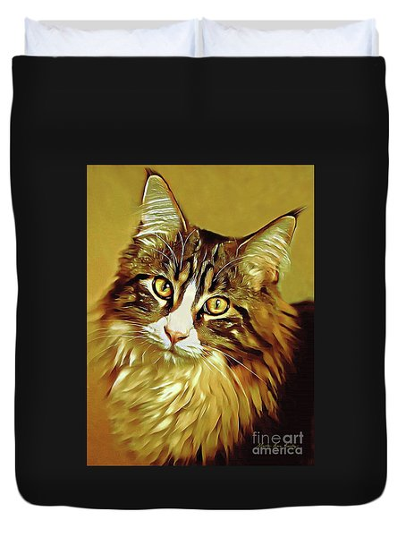 Duvet Cover featuring the digital art Decorative Digital Painting Maine Coon A71518 by Mas Art Studio