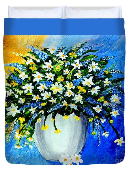 Duvet Cover featuring the painting Decorative Floral Acrylic Painting G62017 by Mas Art Studio