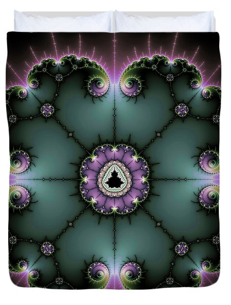 Duvet Cover featuring the digital art Decorative Fractal Art Purple And Green by Matthias Hauser