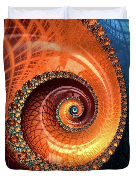 Duvet Cover featuring the digital art Decorative Fractal Spiral Orange Coral Blue by Matthias Hauser