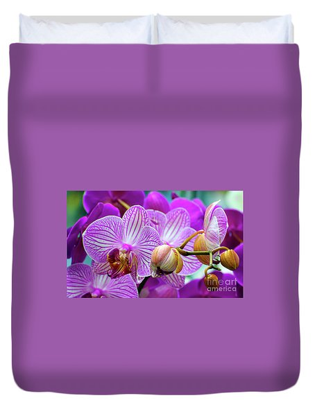 Duvet Cover featuring the photograph Decorative Fuschia Orchid Still Life by Mas Art Studio