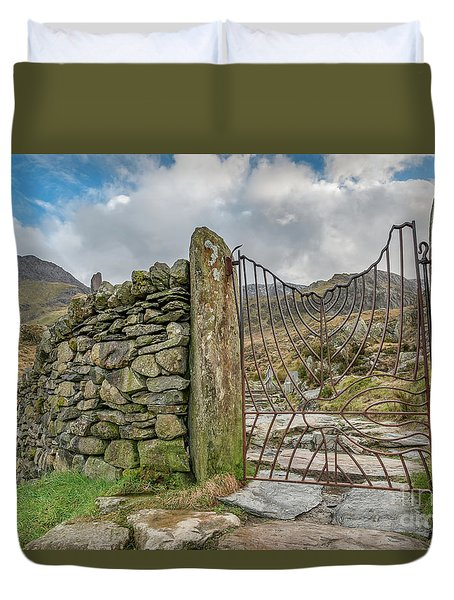 Duvet Cover featuring the photograph Decorative Gate Snowdonia by Adrian Evans