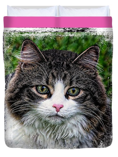 Duvet Cover featuring the mixed media Decorative Maine Coon Cat A4122016 by Mas Art Studio