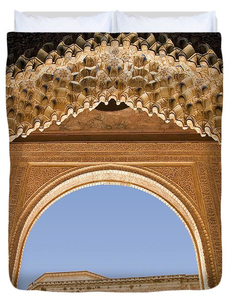Decorative Moorish Architecture In The Nasrid Palaces At The Alhambra Granada Spain Duvet Cover by Mal Bray