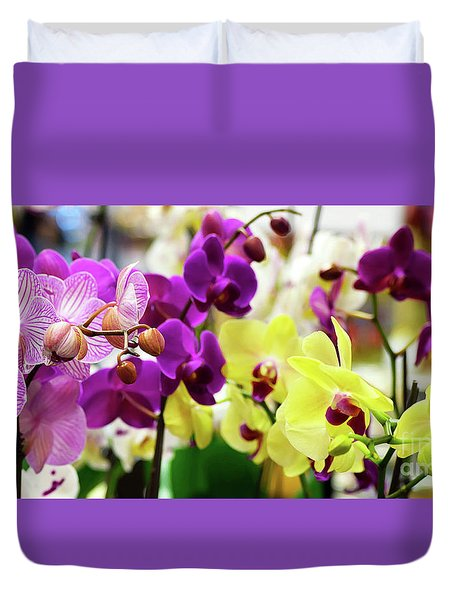 Duvet Cover featuring the photograph Decorative Orchids Still Life B82418 by Mas Art Studio