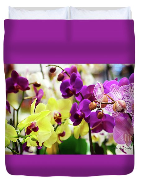 Duvet Cover featuring the photograph Decorative Orchids Still Life C82418 by Mas Art Studio