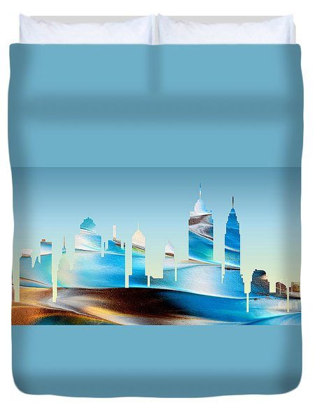 Decorative Skyline Abstract New York P1015b Duvet Cover