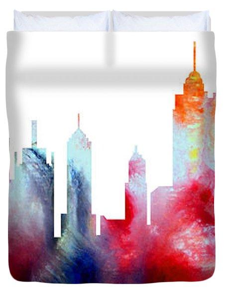 Decorative Skyline Abstract New York P1015c Duvet Cover