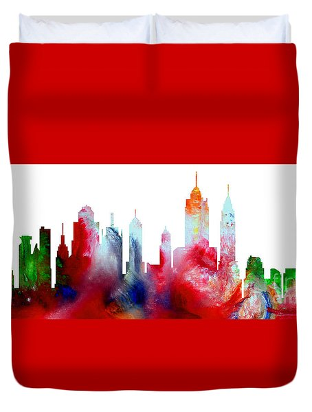 Decorative Skyline Abstract New York P1015c Duvet Cover