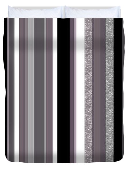 Decorative Stripe - Lavender Gray Duvet Cover