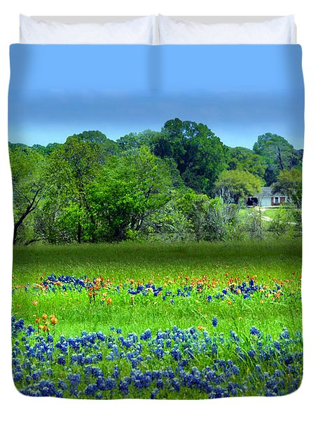 Decorative Texas Homestead Bluebonnets Meadow Mixed Media Photo H32517 Duvet Cover