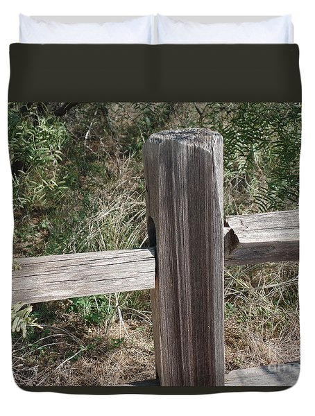 Duvet Cover featuring the photograph Decorative View - Central Texas Fence Line by Ray Shrewsberry