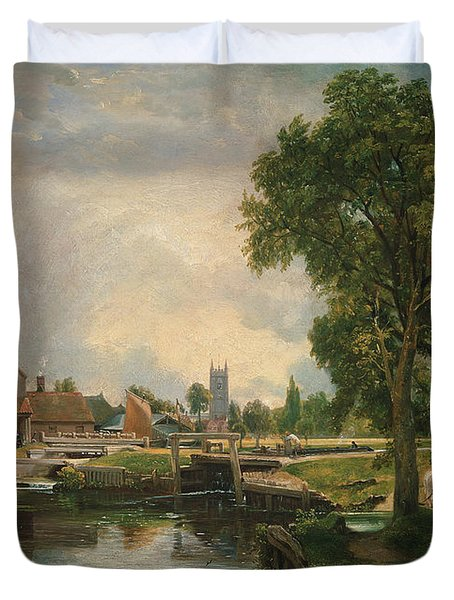 Dedham Lock And Mill Duvet Cover by John Constable