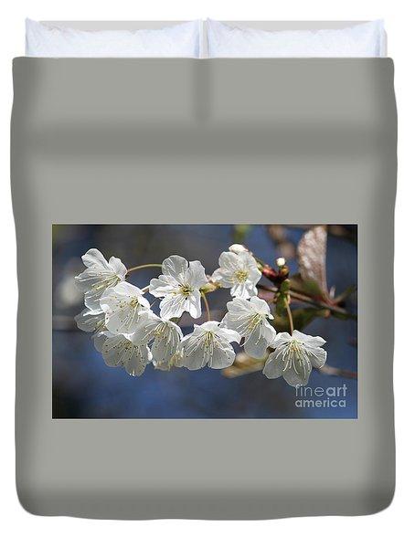 Deep Blue  Cherry Blossom Duvet Cover