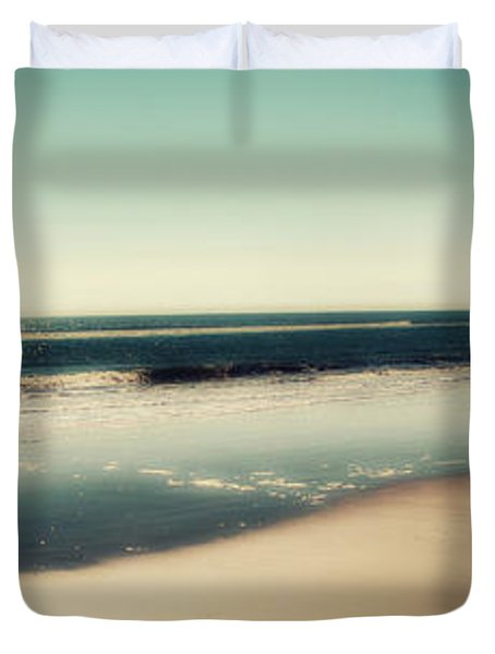 Duvet Cover featuring the photograph Deep Blue Sea Panoramic by Amy Tyler