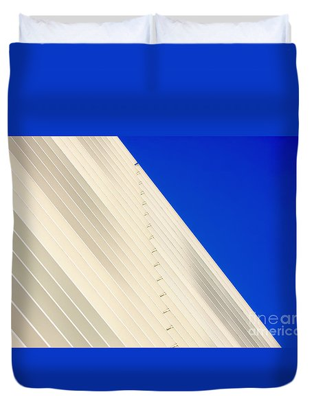 Deep Blue Sky And Office Building Wall Duvet Cover