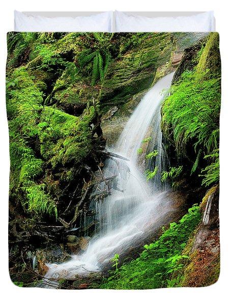 Deep Forest Falls Duvet Cover
