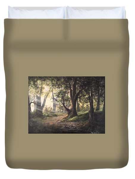 Deep Forest Rays  Duvet Cover