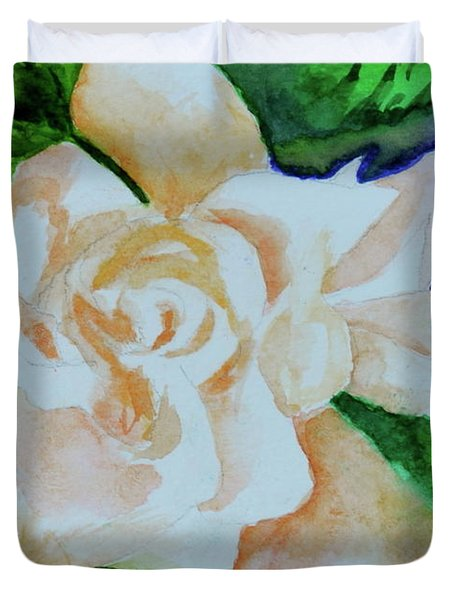 Duvet Cover featuring the painting Deep Gardenia by Beverley Harper Tinsley