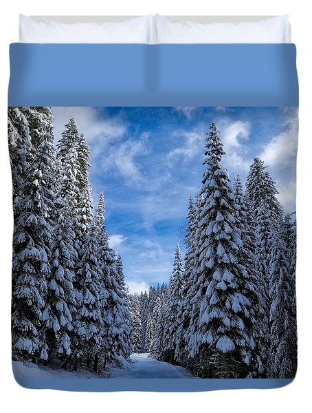 Deep In The Snowy Forest Duvet Cover by Lynn Hopwood
