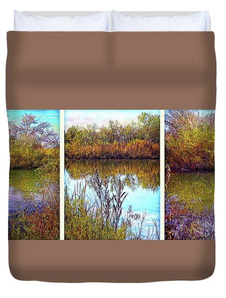 Deep Lake Reflections - Triptych Duvet Cover