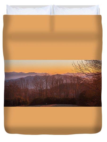 Deep Orange Sunrise Duvet Cover