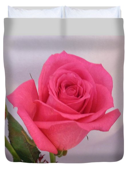 Single Deep Pink Rose Duvet Cover