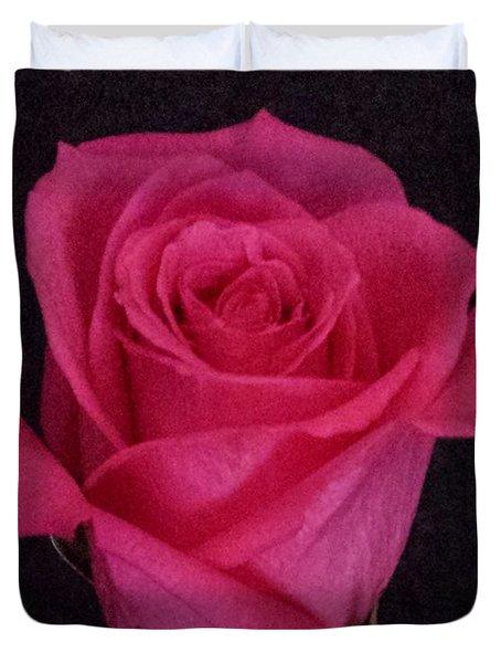 Deep Pink Rose On Black Duvet Cover