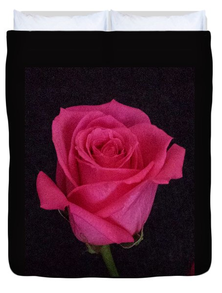 Deep Pink Rose On Black Duvet Cover