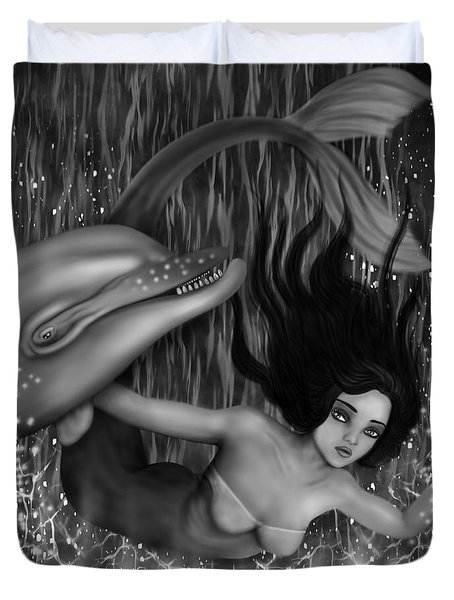 Deep Sea Mermaid - Black And White Fantasy Art Duvet Cover