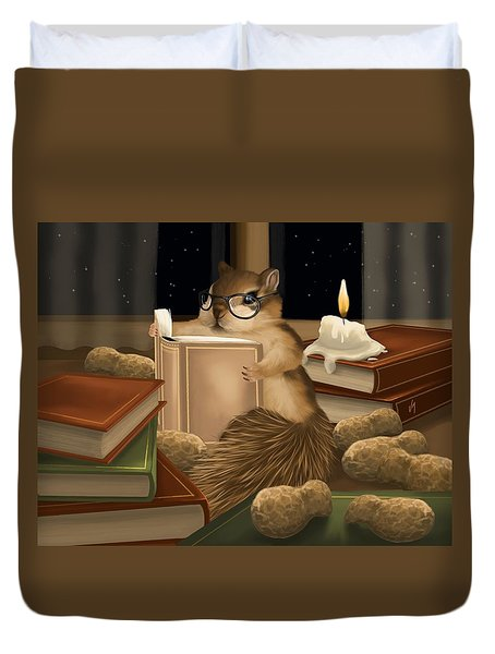 Duvet Cover featuring the painting Deep Study by Veronica Minozzi