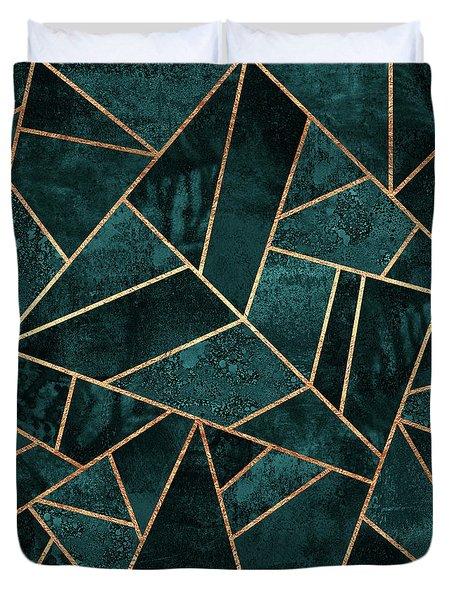 Deep Teal Stone Duvet Cover