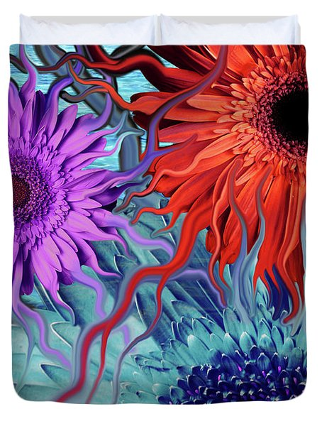 Deep Water Daisy Dance Duvet Cover