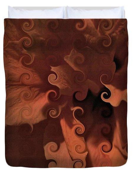 Deep Wine Curlicue Hibiscus Duvet Cover