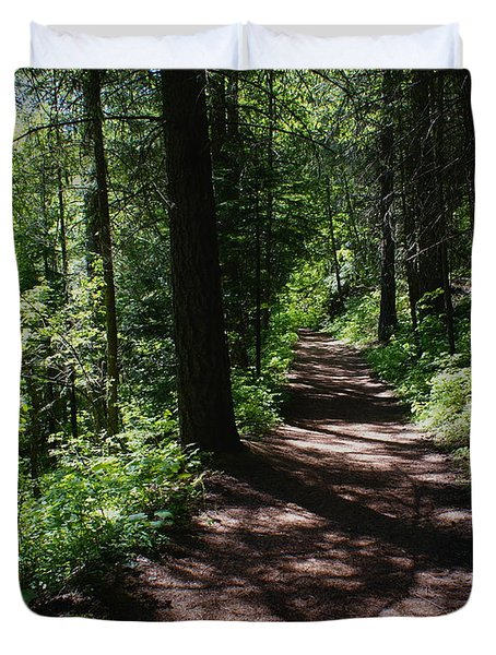 Duvet Cover featuring the photograph Deep Woods Road by Ben Upham III