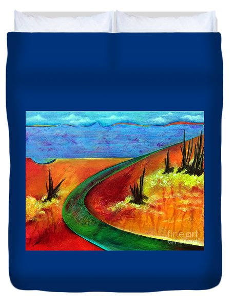 Duvet Cover featuring the painting Deeper Than It Seems by Elizabeth Fontaine-Barr