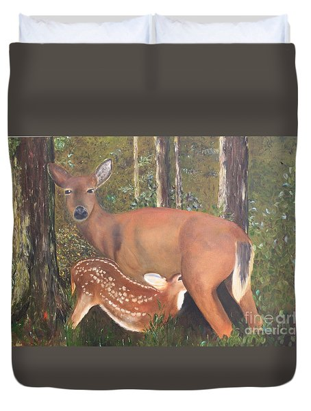 Duvet Cover featuring the painting Deer And Fawn by Peggy Borel